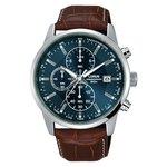 more details on Lorus Men's Blue Dial Brown Strap Chronograph Watch.