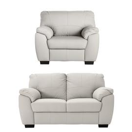 Argos Home Milano Leather Chair & 2 Seater Sofa - Light Grey