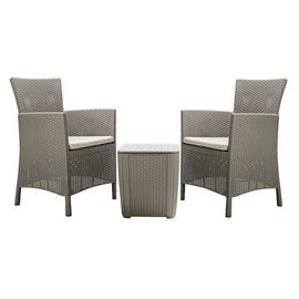 Keter Iowa 2 Seater Rattan Effect Bistro Set - Cappuccino