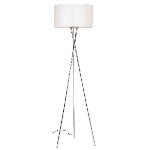 Buy Argos Home Chrome Tripod Floor Lamp Chrome & White | Floor lamps | Argos