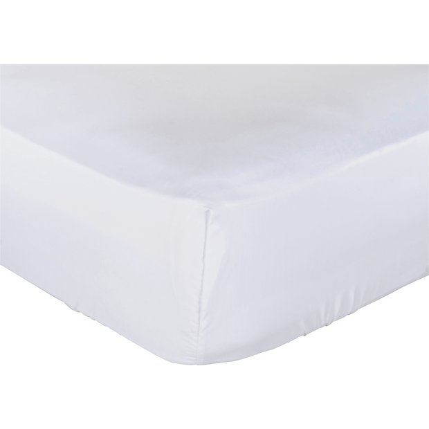 buy collection white non iron fitted sheet double at. Black Bedroom Furniture Sets. Home Design Ideas