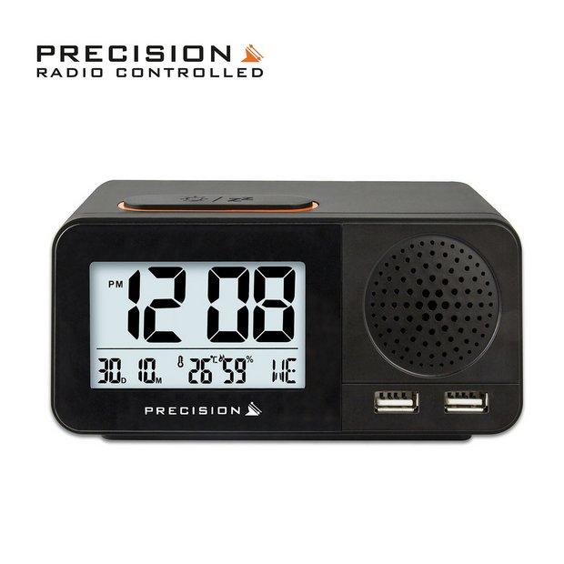 Lcd Triple Display Alarm Clock With Dual Usb Charging - Arm