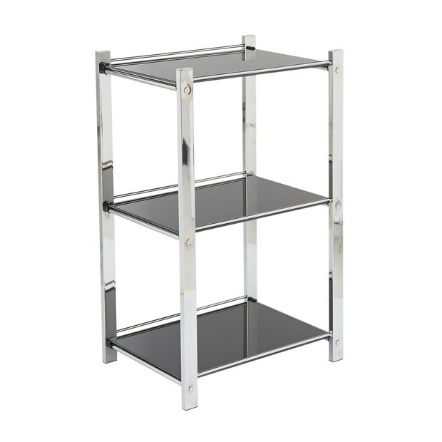 Buy Hygena Onyx 3 Tier Glass Shelf Unit At Argos Co Uk