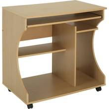 HOME Curved Computer Desk Trolley - Beech Effect