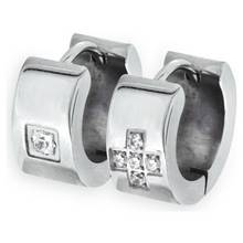 Revere Men's Stainless Steel CZ Huggie Earrings - Set of 2
