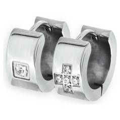 4d4edb710 Revere Men's Stainless Steel CZ Huggie Earrings - Set of 2