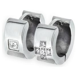 Revere Men's Stainless Steel Set of 2 Huggie Earrings