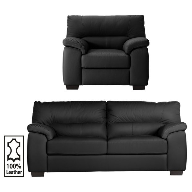 Buy Collection Piacenza 3 Seater Leather Sofa And Chair