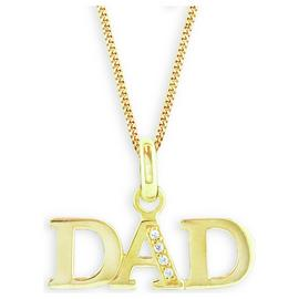 Revere Men's Gold Plated Sterling Silver CZ Dad Pendant