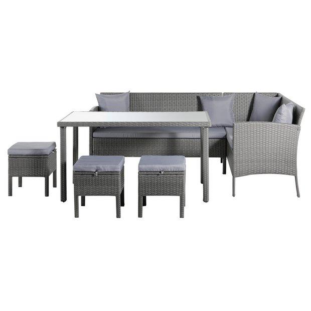 16bd3632f8 Argos Home 8 Seater Rattan Effect Corner Sofa Set - Grey619/4116
