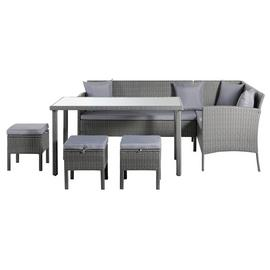 Argos Home 8 Seater Rattan Effect Corner Sofa Set - Grey