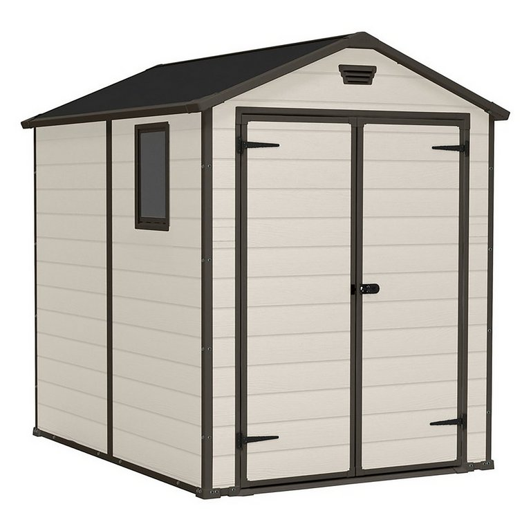 Garden Sheds 6 X 8 buy keter manor plastic beige & brown garden shed - 6 x 8ft at