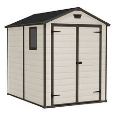 Keter Manor Plastic Beige & Brown Garden Shed - 6 x 8ft Best Price, Cheapest Prices