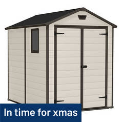 Keter Manor Plastic Beige & Brown Garden Shed - 6 x 8ft