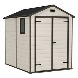Keter Manor Plastic 6 x 8ft Garden Shed - Beige and Brown
