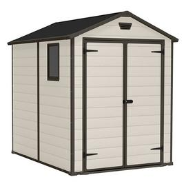 Keter Manor Apex Garden Storage Shed 6 x 8ft – Beige/Brown