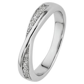 Revere Sterling Silver CZ Crossover Half Eternity Ring