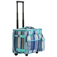 Blue Striped Wheeled Picnic Cooler