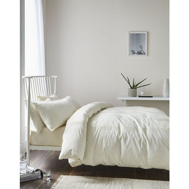 Buy minimalist cream single bed duvet set at for Minimalist bedding sets