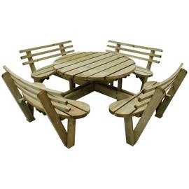 Forest 2.4m Circular Picnic Table with Seat Backs