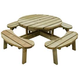 Forest Garden Round 8 Seater Picnic Table