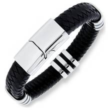 Revere Men's Stainless Steel Leather 4 Station Bracelet