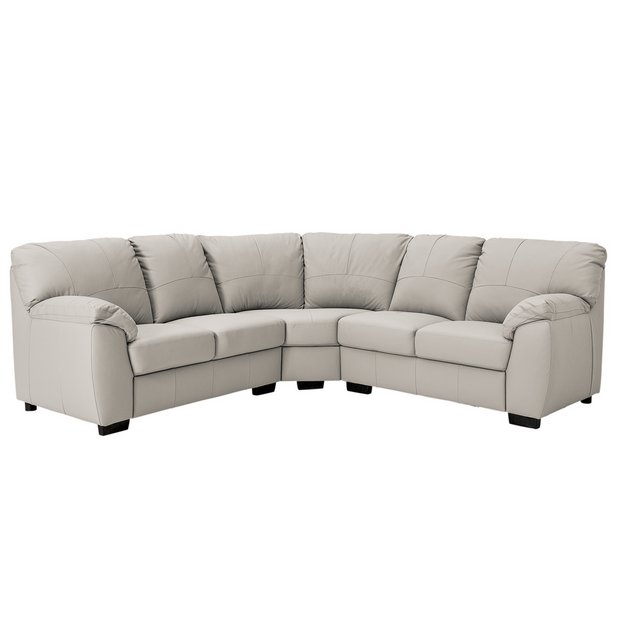 Buy Argos Home Milano Corner Leather Sofa - Light Grey | Sofas | Argos