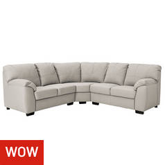 Argos Home Milano Reversible Corner Leather Sofa -Light Grey