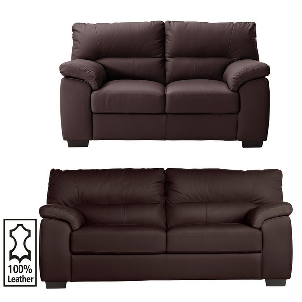 buy collection piacenza 3 seat and 2 seat leather sofa choc at your online shop. Black Bedroom Furniture Sets. Home Design Ideas