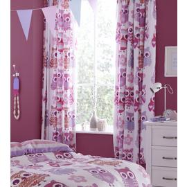 Catherine Lansfield Owl Curtains - 168x183cm - Pink