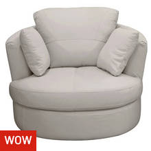 Collection Milano Leather Swivel Chair - Light Grey