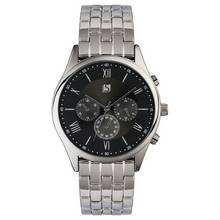 Spirit Men's Stainless Steel Black Dial Bracelet Watch
