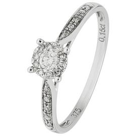 Revere 9ct White Gold 0.15ct tw Diamond Set Shoulder Ring