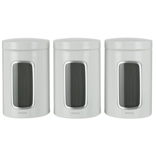 Buy brabantia set of 3 canisters white at for Kitchen set argos