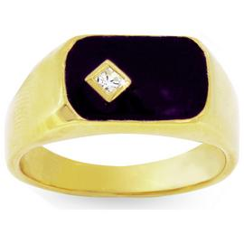 Revere Men's 9ct Gold Plated Silver Black Enamel CZ Ring