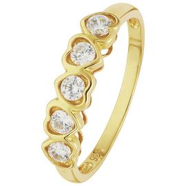 Revere 9ct Yellow Gold Cubic Zirconia Heart Eternity Ring