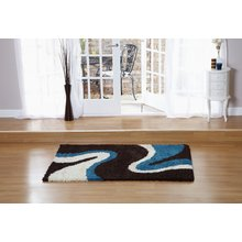 Sienna Ripple Rug - 120 x 170cm - Blue and Chocolate