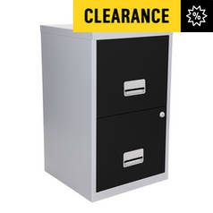 Metal 2 Drawer Filing Cabinet - Silver and Black