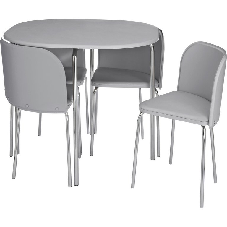 buy hygena amparo space saving dining table & 4 chairs - grey at