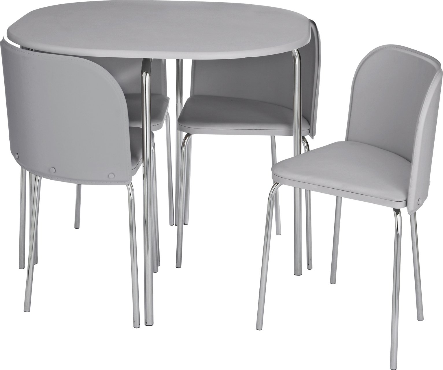 Dining table and 4 chairs costway 5 piece dining set for Round space saving dining table and chairs