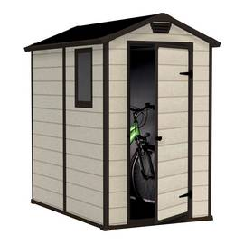Keter Manor Plastic Beige & Brown Garden Shed - 4 x 6ft