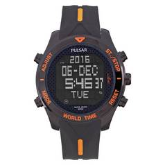 Pulsar Men's Black and Orange Analogue Digital Watch