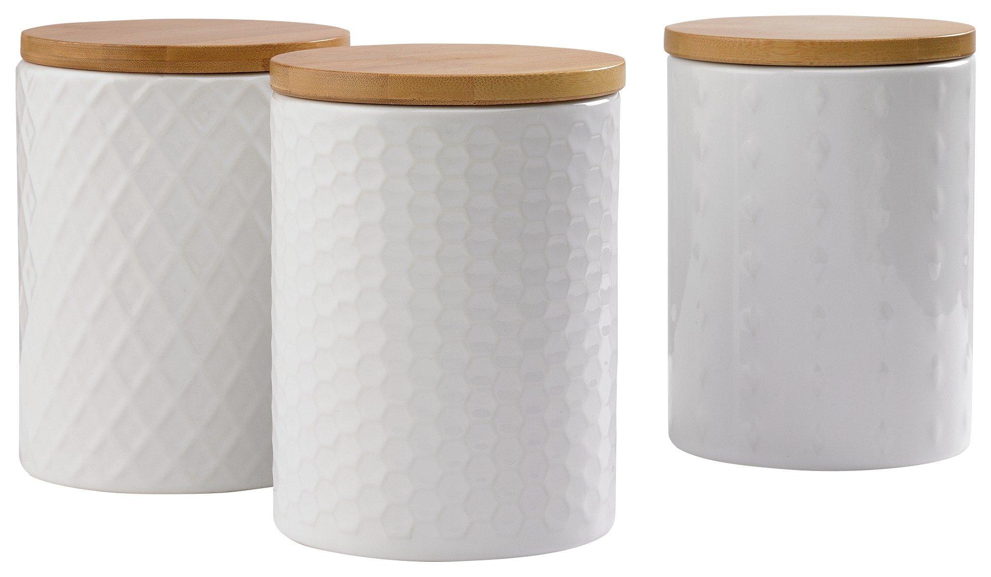 heart of house veda 3 textured storage jars   white results for kitchen storage jars  rh   argos co uk