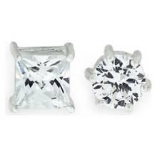Revere Men's Silver Cubic Zirconia Stud Earrings - Set of 2