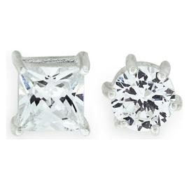 Revere Men's Sterling Silver Cubic Zirconia Stud Earrings