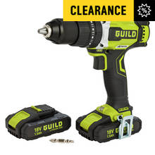 Guild Cordless Brushless Hammer Drill with 2 18V Batteries
