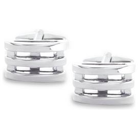 Revere Men's Silver Colour Grooved Cufflinks