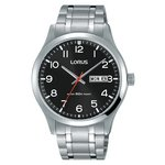 more details on Lorus Men's Black Dial Day Date Bracelet Watch.