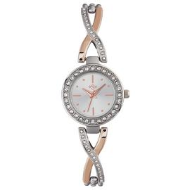 Spirit Ladies' Silver and Rose Gold Stone Set Bracelet Watch
