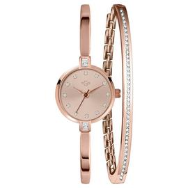Spirit Ladies Rose Colour Stone Set Watch and Bracelet Set